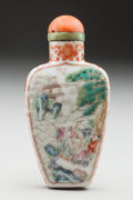 Asian:Chinese, A CHINESE PORCELAIN SNUFF BOTTLE: LONG LIFE. Marks:(four-character mark). 3 inches high (7.6 cm). PRO...