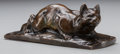 Fine Art - Sculpture, American, CONTINENTAL SCHOOL (19th Century). Crouching Cat. Bronzewith brown patina. 2-1/2 inches (6.4 cm) high. Inscribed on bas...