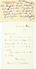 Autographs:Authors, Henry Wadsworth Longfellow Autograph Note Signed. Cambridge,September 10, 1877. ...