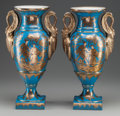 Ceramics & Porcelain, Continental, A PAIR OF GERMAN PORCELAIN CHINOISERIE DECORATED VASES. 17-1/2inches high (44.5 cm). ... (Total: 2 Items)