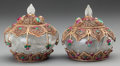 Asian:Chinese, A PAIR OF SMALL MOGHUL-STYLE ROCK CRYSTAL, FILIGREE AND HARDSTONEBOXES. 4 inches high (10.2 cm). ... (Total: 2 Items)