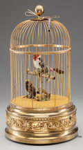 Decorative Arts, French, A FRENCH AUTOMATON BIRD CAGE, circa 1900. Marks: MADE IN FRANCE,5313315. 19-3/8 inches high (49.2 cm). ...