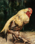 Fine Art - Painting, European, PIET VAN ENGELEN (Belgian, 1863-1924). Rooster. Oil oncanvas. 26-1/2 x 21-1/2 inches (67.3 x 54.6 cm). Signed lowerlef...