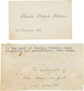 Autographs:Statesmen, Charles Francis Adams Signature on a Card,... (Total: 2 Items)