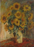 Fine Art - Painting, American:Other , TWENTIETH CENTURY SCHOOL. Still Life with Sunflowers in aVase. Oil on canvas. 30 x 22 inches (76.2 x 55.9 cm).Unsigned...