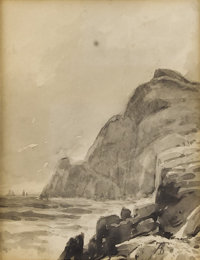 ALFRED THOMPSON BRICHER (American 1837-1908) Rocky Coast Ink and wash on paper 4-1/2 x 4 inches (