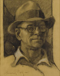 Fine Art - Painting, European:Modern  (1900 1949)  , CARL LUIS HEINRICH-SALZE (German 1891-1964). Self-Portrait. Charcoal on paper. 17-1/2 x 14 inches (44.5 x 35.6 cm). Sign...