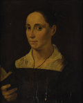 Fine Art - Painting, European:Antique  (Pre 1900), ITALIAN SCHOOL (Eighteenth Century). Portrait of a Woman withBook. Oil on wood panel. 20 x 16 inches (50.8 x 40.6 cm). ...