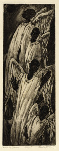Texas:Early Texas Art - Drawings & Prints, BLANCHE MCVEIGH (1895-1970). Gwine to Heaven, 1945. Etchingand aquatint on paper. 15 x 7 inches (38.1 x 17.8 cm). Signe...