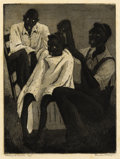 Texas:Early Texas Art - Drawings & Prints, BLANCHE MCVEIGH (1895-1970). Backyard Barber. Etching andaquatint on paper. 9 x 7 inches (22.9 x 17.8 cm). Signed lower...