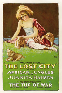 """The Lost City of the African Jungles (Warner Brothers, 1920) Chapter 10 -- """"The Tug-of-War"""". One Sheet (27&quo..."""