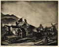 Texas:Early Texas Art - Drawings & Prints, BLANCHE MCVEIGH (1895-1970). Virginia City, Mont.. Etchingand aquatint on paper. 11 x 14 inches (27.9 x 35.6 cm). Signe...