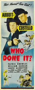"Movie Posters:Comedy, Who Done It? (Universal, 1942). Insert (14"" X 36""). ..."