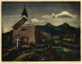 Texas:Early Texas Art - Drawings & Prints, BLANCHE MCVEIGH (1895-1970). Church Arroyo Seco. Coloretching and aquatint on paper. 9-1/2 x 12-1/2 inches (24.1 x31.8...