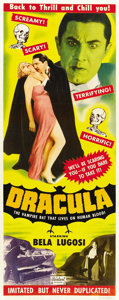 "Movie Posters:Horror, Dracula (Realart, R-1951). Insert (14"" X 36""). ..."