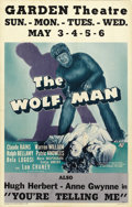 "Movie Posters:Horror, The Wolf Man (Universal, 1941). Window Card (14"" X 22""). ..."