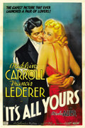 "Movie Posters:Comedy, It's All Yours (Columbia, 1937). One Sheet (27"" X 41""). ..."