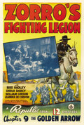 "Movie Posters:Serial, Zorro's Fighting Legion (Republic, 1939). One Sheet (27"" X 41"").Chapter 9 -- ""The Golden Arrow."" ..."