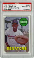 Baseball Cards:Singles (1960-1969), 1969 Topps Paul Casanova White Last Name #486 PSA NM-MT 8. Only onebetter example of the tough white last name variant of ...