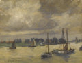 Paintings, EMMA LAMBERT COOPER (American 1860-1920). Boats in the Harbor, DATE. Oil on board. 10 x 13 inches (25.4 x 33.0 cm). Sign...