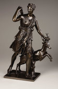 "Bronze:European, A Bronze Group of ""The Versailles Diana"". . After Jean AntoineHoudon, French (1741-1828). Bronze with greenish brown patina..."