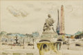 Fine Art - Painting, European:Modern  (1900 1949)  , GENEVIÈVE GALLBERT (French 1888-1978). Place de La Concorde,20th century. Watercolor on paper. 16 x 20 inches (40.6 x 5...
