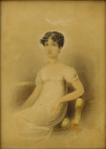 Fine Art - Painting, European:Antique  (Pre 1900), 19th Century French School. Portrait of a Woman in White.Watercolor and graphite on paper. 8-1/4 x 6 inches (21.0 x 15....