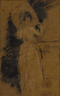 Paintings, Manner of JAMES ABBOTT MCNEILL WHISTLER (American 1834-1903). Woman with a Parasol. Ink and white heightening on brown p...