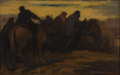 Fine Art - Painting, American:Modern  (1900 1949)  , EUGENE HIGGINS (American 1874-1958). Evening Travelers,DATE. Oil on wood panel. 15-1/2 x 11 inches (39.4 x 27.9 cm). Si...