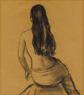 Fine Art - Painting, American:Modern  (1900 1949)  , GLADYS ROCKMORE DAVIS (American 1901-1967). Seated Nude withLong Hair. Charcoal on paper. 12 x 10-1/2 inches (30.5 ...