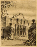 Texas:Early Texas Art - Drawings & Prints, UNKNOWN. The Alamo. Etching on paper. 8 x 6 inches (20.3 x15.2 cm). Unidentified monogram in plate at lower left. ...