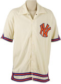 Basketball Collectibles:Uniforms, 1972-74 New York Knicks Game Worn Warm-Up Jacket Attributed to DaveDeBusschere. Beautiful home white New York Knicks jacke...