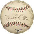 Autographs:Baseballs, Circa 1934 New York Yankees Team Signed Baseball. An exceptionalsweet spot signature from the great Bambino would make thi...
