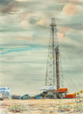 Works on Paper, WARNER HOOPLE (American, 1904-1989). Oil Derrick, Dallas, Texas, 1952. Watercolor on paper. 20-1/4 x 14-3/4 inches (51.4...