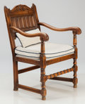 Furniture , AN AMERICAN JACOBEAN-STYLE UPHOLSTERED WALNUT ARMCHAIR, late 19th century. 36 x 23 x 21-1/2 inches (91.4 x 58.4 x 54.6 cm). ...