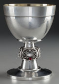 Silver Holloware, Continental, A GERMAN SILVER, SILVER GILT, DIAMOND AND GLASS WEIGHTED LITURGICALCHALICE, circa 1930. Marks: STERLING, 925, MADE IN GER...