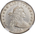 Early Half Dollars, 1806 50C 6 Over Inverted 6, O-111a, R.4, AU55+ NGC....