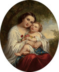Fine Art - Painting, European, FANNY GEEFS (Belgian, 1807-1883). Mother and Child. Oil oncanvas. 39-1/2 x 31-1/2 inches (100.3 x 80.0 cm). Signed lowe...
