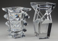 Art Glass:Other , TWO BACCARAT CLEAR GLASS VASES, Baccarat, France, late 20thcentury. Marks: Baccarat, BACCARAT, FRANCE. 9-1/8 x 5 x 5in... (Total: 2 Items)