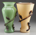 Art Glass:Other , TWO BACCHUS GLASS VASES WITH APPLIED FOLIATE DECORATION, Sonoma, California, late 20th century. Marks: Bacchus. 12-3/8 i... (Total: 2 Items)