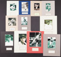 Baseball Collectibles:Others, 1930's-80's Ted Williams, Heinie Manush, Rube Marquard, etc. SignedCut Photograph Displays Lot of 18....