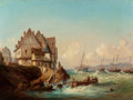 Miscellaneous, CONTINENTAL SCHOOL (19th Century). Seaside Village, 1851.Oil on canvas. 18-3/4 x 25 inches (47.6 x 63.5 cm). Bears the ...