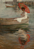 Fine Art - Painting, American, Manner of WILLIAM MERRITT CHASE (American, 1849-1916). Womanwith Crimson Parasol. Oil on canvas. 34-1/2 x 24-1/4 inches...