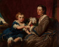 Fine Art - Painting, European:Antique  (Pre 1900), James Sant (British, 1820-1916). A Mother and Daughter. Oilon canvas. 40-1/2 x 50 inches (102.9 x 127 cm). Signed on st...