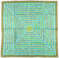 "Luxury Accessories:Accessories, Hermes 90cm Olive & Turquoise "" Les Sources de La Vie,"" by FredRawyler Silk Scarf. Very Good Condition. 36"" Width x 26""H..."