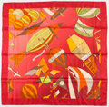 "Luxury Accessories:Accessories, Hermes 90cm Red & Pink ""Les Folies du Ciel,"" by Loic DubigeonSilk Scarf . Very Good to Excellent Condition . 36""Widt..."