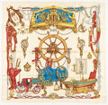 """Luxury Accessories:Accessories, Hermes 90cm Cream & Brown """"Musee,"""" by Philippe Ledoux SilkScarf. Excellent to Pristine Condition. 36"""" Width x 36""""Len..."""