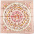 "Art Glass:Daum, Hermes 90cm Pink & Cream ""Per Astra Ad Astra,"" by SandraLaroche Silk Scarf. Excellent Condition. 36"" Width x 36""Heig..."