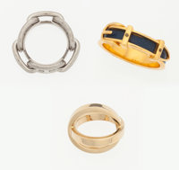 Hermes Gold, Palladium, & Blue de Prusse Chevre Leather Scarf Rings Very Good to Excellent Condition