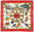 "Luxury Accessories:Accessories, Hermes 90cm Red, White & Green ""Joies d' Hivor,"" by JoachimMetz Silk Scarf. Excellent Condition. 36"" Width x 36""Heig..."